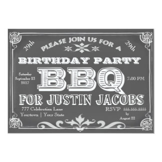 Birthday Party Bar B Que 5x7 Paper Invitation Card