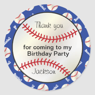 Birthday Party Baseball in Dark Blue - Thank you Round Sticker