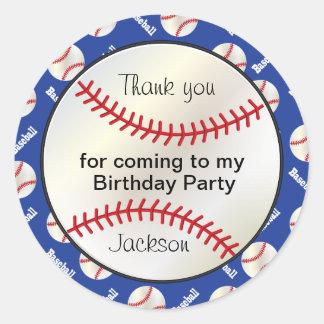 Birthday Party Baseball in Dark Blue - Thank you Round Sticker