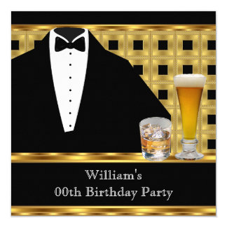 Birthday Party Beer Scotch Tuxedo Gold Black 2 Card