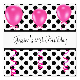 Birthday Party Black & White Spots Pink Balloons Personalized Invitation
