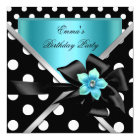 Birthday Party Blue Teal Black Polka Dots Card
