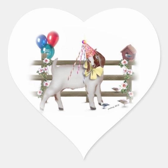 Birthday Party Boer Goat Kid Heart Sticker