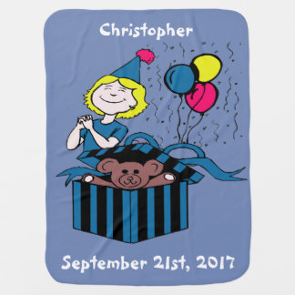 Birthday Party Boy Girl Teddy Bear Present Balloon Baby Blankets