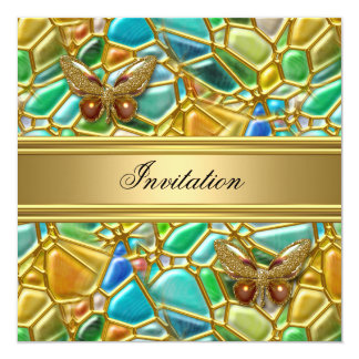 Birthday Party Butterfly Gold Teal Blue Mosaic Card