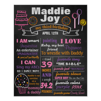 Birthday Party chalkboard sign poster Candy