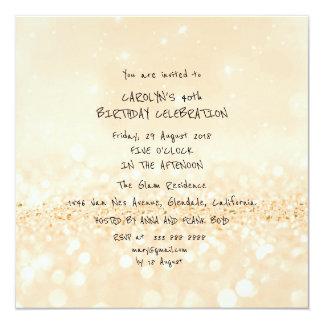Birthday Party Champaign Glitter White Vip Card