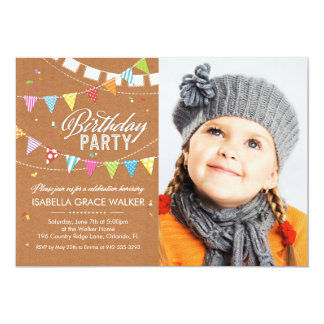 "Birthday Party | Colorful Flags Brown 5"" X 7"" Invitation Card"