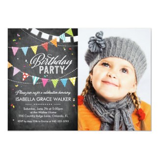 "Birthday Party | Colorful Flags Chalkboard 5"" X 7"" Invitation Card"