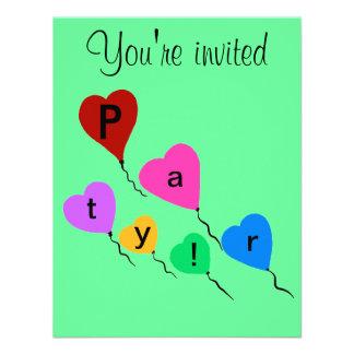 Birthday Party Colorful Heart Balloons Invitations Custom Invitations