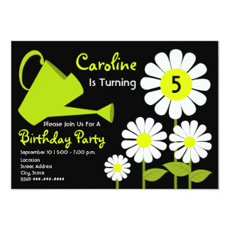 "Birthday Party - Daisies & Watering Can 5"" X 7"" Invitation Card"