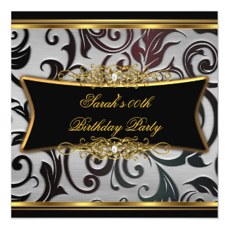 """Birthday Party Damask Floral Black Gold White 5.25"""" Square Invitation Card"""