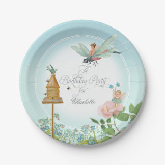 Birthday Party Decor Little Girl Fairy Garden Bees 7 Inch Paper Plate