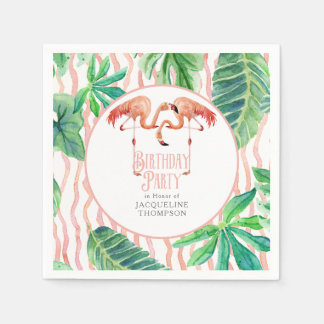 Birthday Party Decor Watercolor Pink Flamingo Leaf Napkin