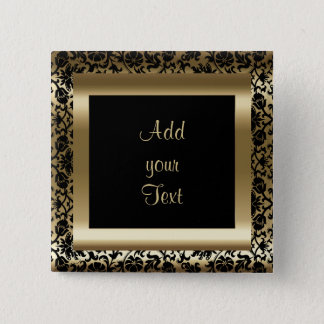 Birthday Party   DIY Text   Black Gold 2 Inch Square Button