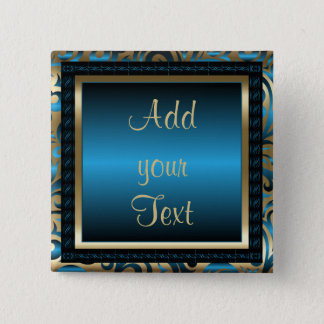 Birthday Party | DIY Text | Blue 2 Inch Square Button