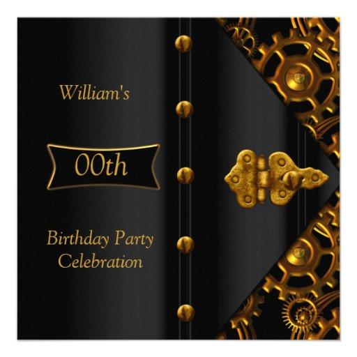 Birthday Party Elegant Gold Black Steampunk Custom Invitation