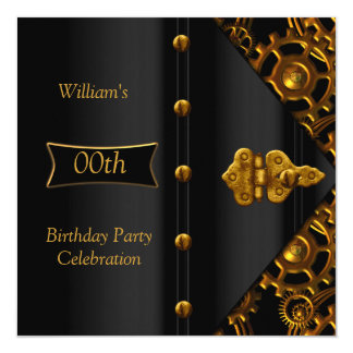 "Birthday Party Elegant Gold Black Steampunk 5.25"" Square Invitation Card"
