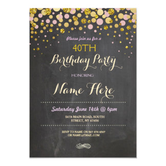 Birthday Party Elegant Pink & Gold Chalk Invite
