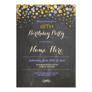 Birthday Party Elegant Purple & Gold Chalk Invite