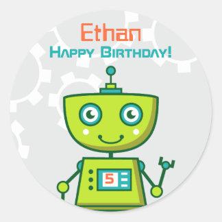 Birthday Party Favor Sticker | Green Robot
