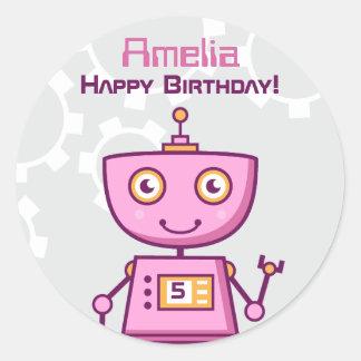 Birthday Party Favor Sticker | Robot Theme