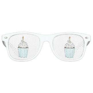 Birthday Party Favors Blue Cupcake Candle Shades Party Sunglasses