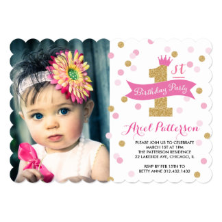 "Birthday Party | First Bday Princess Photo Scallop 5"" X 7"" Invitation Card"