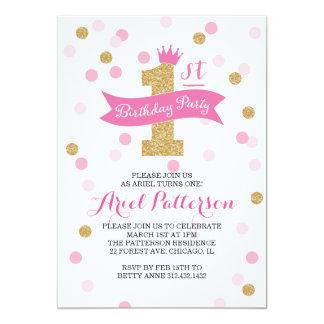 "Birthday Party | First Birthday Princess 5"" X 7"" Invitation Card"