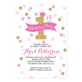 "Birthday Party | First Birthday Princess Scalloped 5"" X 7"" Invitation Card"