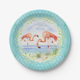 Birthday Party Flamingo Beach Ocean Sandy Shore Paper Plate