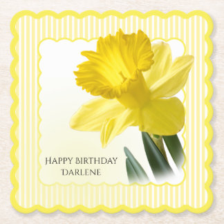 Birthday Party Floral Photography Yellow Daffodil Paper Coaster