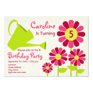 "Birthday Party - Flower Garden & Watering Can 5"" X 7"" Invitation Card"