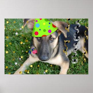 Birthday Party German Shepherd Poster