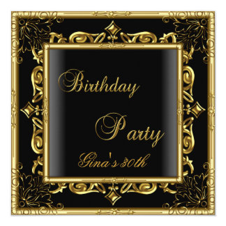 """Birthday Party Gold Black Floral Womens 30th 5.25"""" Square Invitation Card"""