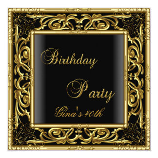 "Birthday Party Gold Black Floral Womens 40th 5.25"" Square Invitation Card"