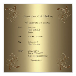 Birthday Party Gold Floral 40th Card