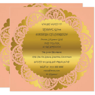 Birthday Party Golden Peach Pastel Lace Glam Card