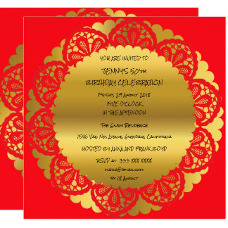 Birthday Party Golden Red Wine Lace Glam Card
