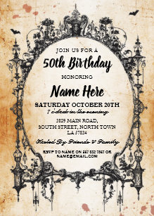 Birthday Party Gothic Frame Invite Halloween