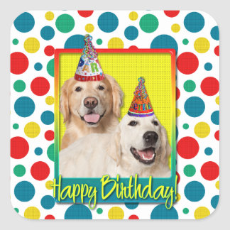 Birthday Party Hat - Golden Retriever Tebow Corona Square Sticker