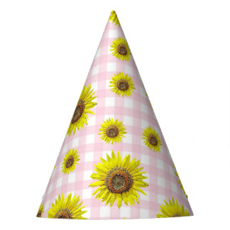 Birthday Party Hat Pink Gingham Sunflower Themed