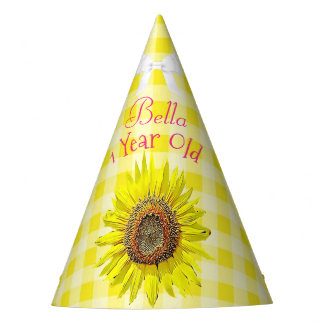Birthday Party Hat Pink Yellow Sunflower Themed