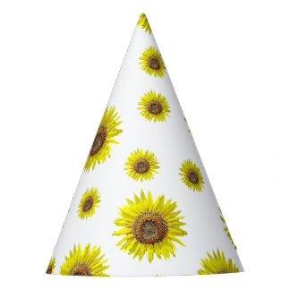 Birthday Party Hat White Yellow Sunflower Themed