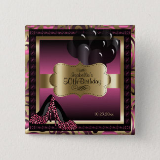 Birthday Party | Hot Pink and Gold 2 Inch Square Button