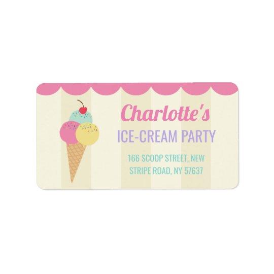 Birthday Party Ice-Cream Parlour Address Labels