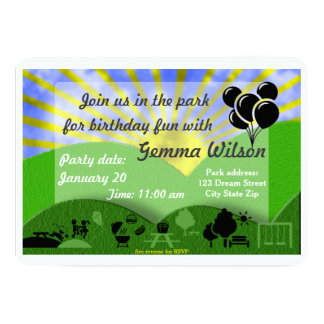 Birthday Party in the park invitation