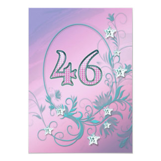 "Birthday party invitation 46 years old 5"" x 7"" invitation card"