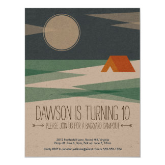 Birthday Party Invitation, Boy, Campout Card