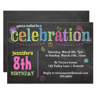 Birthday Party Invitation-Chalk + Neon Card
